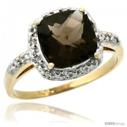 10k Yellow Gold Diamond Smoky Topaz Ring 2.08 ct Cushion cut 8 mm Stone 1/2 in wide