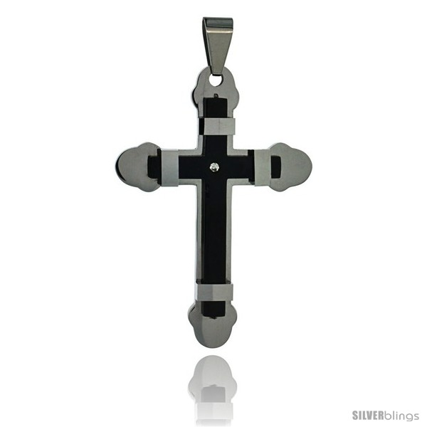 https://www.silverblings.com/3040-thickbox_default/stainless-steel-cross-pendant-2-tone-black-finish-2-in-tall-w-30-in-chain.jpg