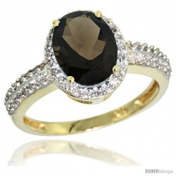 10k Yellow Gold Diamond Smoky Topaz Ring Oval Stone 9x7 mm 1.76 ct 1/2 in wide