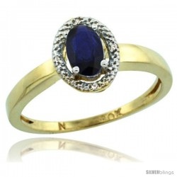 10k Yellow Gold Diamond Halo Quality Blue Sapphire Ring 0.64 Carat Oval Shape 6X4 mm, 3/8 in (9mm) wide