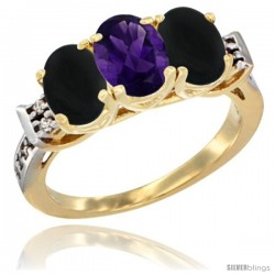 10K Yellow Gold Natural Amethyst & Black Onyx Sides Ring 3-Stone Oval 7x5 mm Diamond Accent