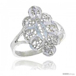 Sterling Silver Floral Filigree Ring, 5/8 in -Style Fr456