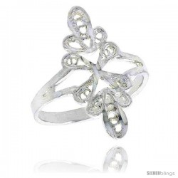 Sterling Silver Freeform Filigree Ring, 3/4 in -Style Fr457