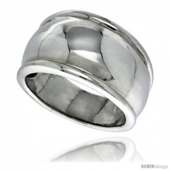 Sterling Silver Dome Wedding Band Ring 7/16 in wide -Style Tr423