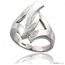 Sterling Silver Interlocking Triangles Ring Flawless finish 1 in wide