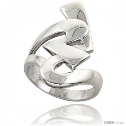 Sterling Silver Interlocking Hearts Ring Flawless finish 1 1/8 in wide