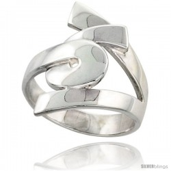 Sterling Silver Designer Swirl Ring Flawless finish 7/8 in wide