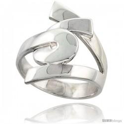 Sterling Silver Designer Swirl Ring Flawless finish 7/8 in wide