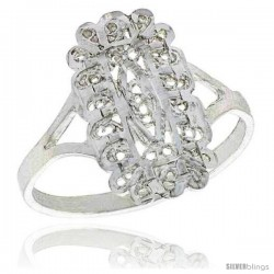 Sterling Silver Freeform Filigree Ring, 3/4 in -Style Fr464