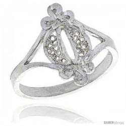 Sterling Silver Filigree Ring, 5/8 in