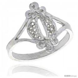 Sterling Silver Filigree Ring, 5/8 in