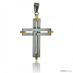 Stainless Steel Cross Pendant 2-tone Gold finish, 2 in tall, w/ 30 in Chain