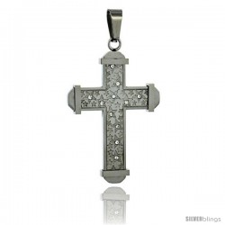 Stainless Steel Cross Pendant Stars & CZ Stones, 2 in tall, comes w/ 30 in Chain