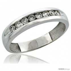 10k White Gold 8-Stone Men's Diamond Ring Band w/ 0.47 Carat Brilliant Cut Diamonds, 3/16 in. (5mm) wide