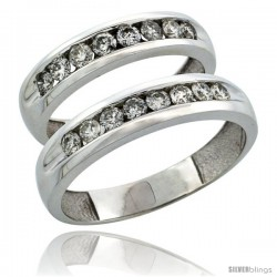 10k White Gold 2-Piece His (5mm) & Hers (4.5mm) Diamond Wedding Ring Band Set w/ 0.94 Carat Brilliant Cut Diamonds