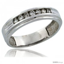 10k White Gold 7-Stone Ladies' Diamond Ring Band w/ 0.21 Carat Brilliant Cut Diamonds, 3/16 in. (5mm) wide