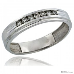 10k White Gold 7-Stone Men's Diamond Ring Band w/ 0.21 Carat Brilliant Cut Diamonds, 3/16 in. (5mm) wide