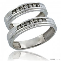 10k White Gold 2-Piece His (5mm) & Hers (5mm) Diamond Wedding Ring Band Set w/ 0.42 Carat Brilliant Cut Diamonds