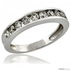 10k White Gold 10-Stone Ladies' Diamond Ring Band w/ 0.67 Carat Brilliant Cut Diamonds, 5/32 in. (4mm) wide