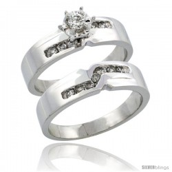 10k White Gold 2-Piece Diamond Engagement Ring Band Set w/ 0.31 Carat Brilliant Cut Diamonds, 3/16 in. (5mm) wide