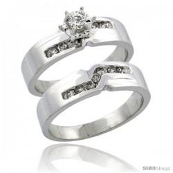 10k White Gold 2-Piece Diamond Engagement Ring Band Set w/ 0.31 Carat Brilliant Cut Diamonds, 3/16 in. (5mm) wide