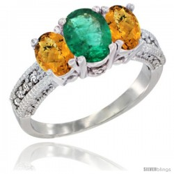 10K White Gold Ladies Oval Natural Emerald 3-Stone Ring with Whisky Quartz Sides Diamond Accent