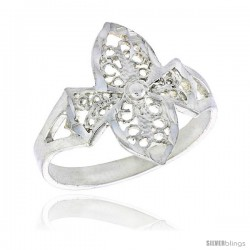 Sterling Silver Cross Filigree Ring, 3/4 in