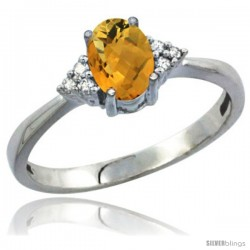 10K White Gold Natural Whisky Quartz Ring Oval 7x5 Stone Diamond Accent