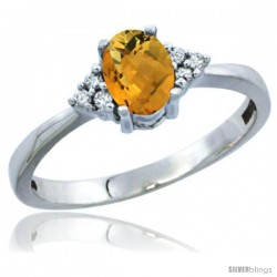 10K White Gold Natural Whisky Quartz Ring Oval 6x4 Stone Diamond Accent