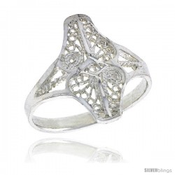Sterling Silver Freeform Filigree Ring, 3/4 in -Style Fr463