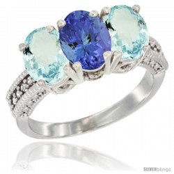 14K White Gold Natural Tanzanite & Aquamarine Sides Ring 3-Stone Oval 7x5 mm Diamond Accent