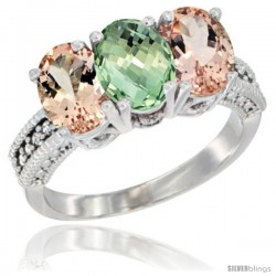 14K White Gold Natural Green Amethyst & Morganite Sides Ring 3-Stone Oval 7x5 mm Diamond Accent