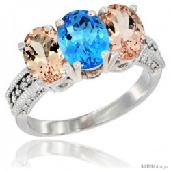 14K White Gold Natural Swiss Blue Topaz & Morganite Sides Ring 3-Stone Oval 7x5 mm Diamond Accent