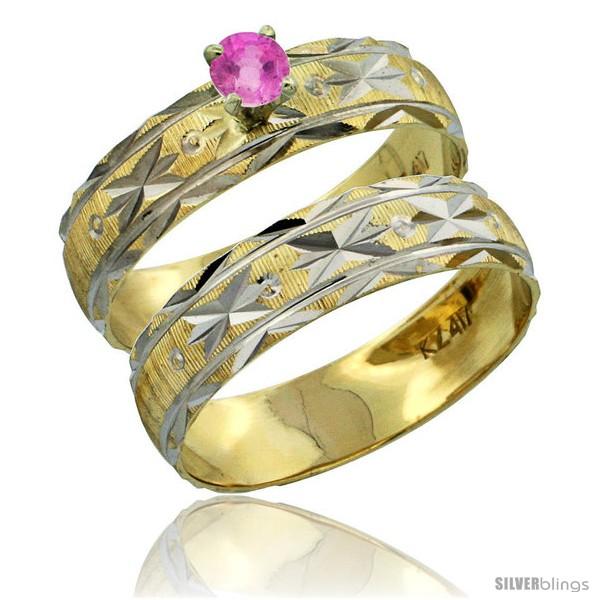 https://www.silverblings.com/30543-thickbox_default/10k-gold-ladies-2-piece-0-25-carat-pink-sapphire-engagement-ring-set-diamond-cut-pattern-rhodium-accent-3-16-style-10y506e2.jpg
