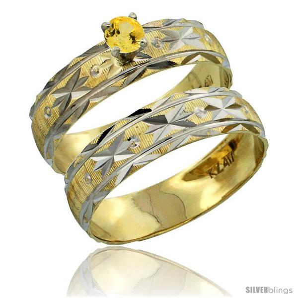 https://www.silverblings.com/30551-thickbox_default/10k-gold-ladies-2-piece-0-25-carat-yellow-sapphire-engagement-ring-set-diamond-cut-pattern-rhodium-accent-style-10y506e2.jpg