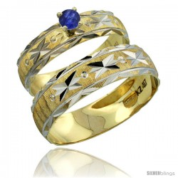 10k Gold 2-Piece 0.25 Carat Deep Blue Sapphire Ring Set (Engagement Ring & Man's Wedding Band) Diamond-cut -Style 10y506em