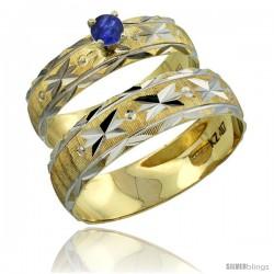 10k Gold 2-Piece 0.25 Carat Deep Blue Sapphire Ring Set (Engagement Ring & Man's Wedding Band) Diamond-cut -Style 10y506em