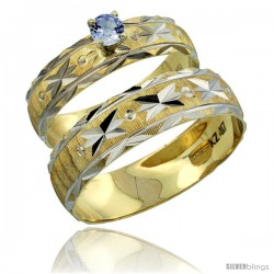 10k Gold 2-Piece 0.25 Carat Light Blue Sapphire Ring Set (Engagement Ring & Man's Wedding Band) Diamond-cut -Style 10y506em