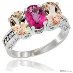 14K White Gold Natural Pink Topaz & Morganite Sides Ring 3-Stone Oval 7x5 mm Diamond Accent