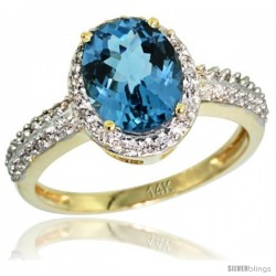 14k Yellow Gold Diamond London Blue Topaz Ring Oval Stone 9x7 mm 1.76 ct 1/2 in wide