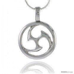 Stainless Steel Tomoe Pendant 1 in tall, w/ 30 in Chain