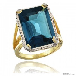14k Yellow Gold Diamond London Blue Topaz Ring 14.96 ct Emerald shape 18x13 Stone 13/16 in wide