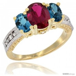 14k Yellow Gold Ladies Oval Natural Ruby 3-Stone Ring with London Blue Topaz Sides Diamond Accent
