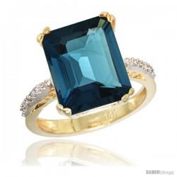14k Yellow Gold Diamond London Blue Topaz Ring 5.83 ct Emerald Shape 12x10 Stone 1/2 in wide