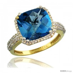 14k Yellow Gold Diamond Halo London Blue Topaz Ring Checkerboard Cushion 11 mm 5.85 ct 1/2 in wide