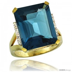 14k Yellow Gold Diamond London Blue Topaz Ring 12 ct Emerald Cut 16x12 stone 3/4 in wide