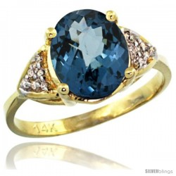 14k Yellow Gold Diamond London Blue Topaz Ring 2.40 ct Oval 10x8 Stone 3/8 in wide