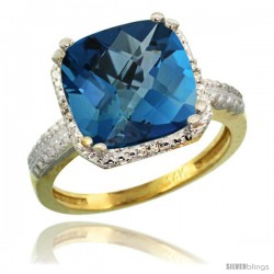 14k Yellow Gold Diamond London Blue Topaz Ring 5.94 ct Checkerboard Cushion 11 mm Stone 1/2 in wide