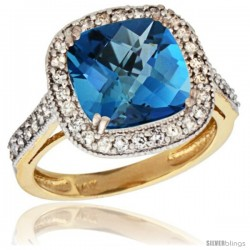 14k Yellow Gold Diamond Halo London Blue Topaz Ring Checkerboard Cushion 9 mm 2.4 ct 1/2 in wide