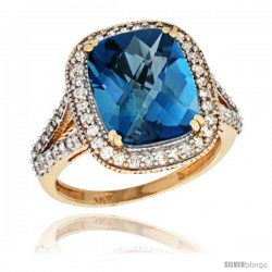 14k Yellow Gold Diamond Halo London Blue Topaz Ring Checkerboard Cushion 12x10 4.8 ct 3/4 in wide